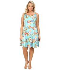 Poppy And Bloom Plus Size Sweet Talk Dress Teal Foral Print Women's Dress Green
