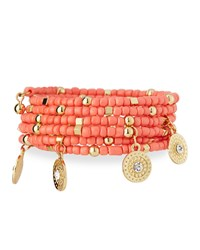Emily And Ashley Greenbeads By Emily And Ashley Beaded Charm Wrap Bracelet Coral