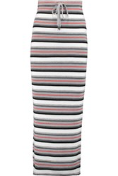 Alexander Wang Striped Ribbed Merino Wool Maxi Skirt Gray