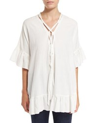 See By Chloe Short Sleeve Voile Ruffle Trim Tunic White