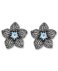 Genevieve And Grace Sterling Silver Earrings Blue Topaz 1 Ct. T.W. And Marcasite Flower Clip On Earrings