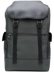 Bottega Veneta Intrecciato Panel Backpack Grey