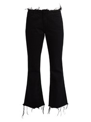 Marques Almeida Frayed Edge Cropped Flared Jeans Black
