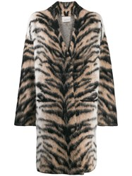 Laneus Oversized Tiger Pattern Coat Neutrals