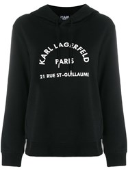 Karl Lagerfeld Address Logo Hoodie Black