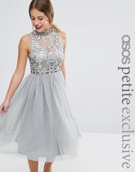 Asos Petite Mesh Prom Dress With Embellished Bodice Grey