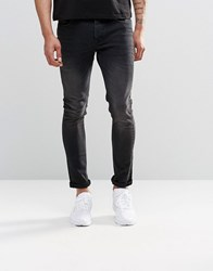 Asos Super Skinny Jeans In 12.05Oz Washed Black Washed Black