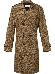Saint Laurent Leopard Print Trench Coat Brown