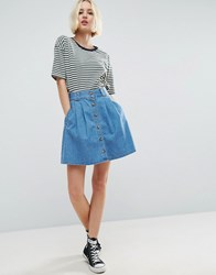 Asos Denim Button Front Mini Skater Skirt In Mid Wash Blue Blue