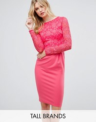 City Goddess Tall Long Sleeve Pencil Midi Dress In Lace Raspberry 34 Pink