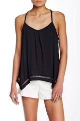 Green Dragon Pleated Scoop Neck Tank Black