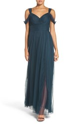 Watters Women's 'Gladiola' Off The Shoulder Tulle A Line Gown Indigo