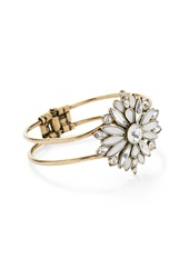 Forever 21 Rhinestoned Floral Pendant Cuff B.Gold White