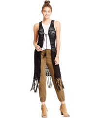 Joe And Elle Juniors' Crochet Fringe Vest Black