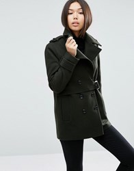 Asos Coat With Stormflap Detail In Wool Mix Khaki Brown
