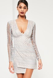 Missguided Grey Geometric V Plunge Lace Bodycon Dress
