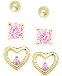 Macy's Children's 3 Pc. Set Pink Cubic Zirconia Stud Earrings In 18K Gold Plated Sterling Silver