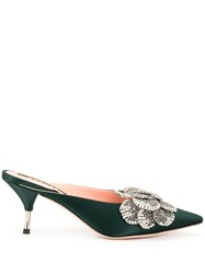 Rochas Formia Jewel Embellished Mules Green