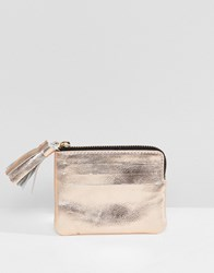 Asos Design Leather Coin Purse With Tassel Rose Gold Copper