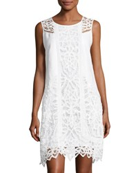 Neiman Marcus Lace Inset Linen Dress White
