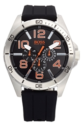 Boss Orange 'Big Time' Multifunction Silicone Strap Watch 48Mm Black