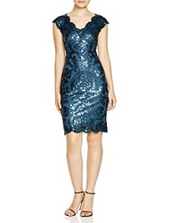 Tadashi Shoji V Neck Cap Sleeve Sequin Lace Dress Starry Night