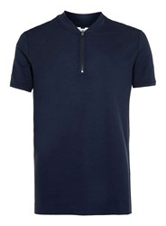Topman Blue Zip Collar Polo Shirt