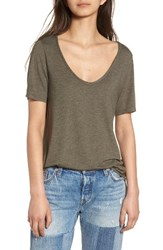 Women's Bp. Raw Edge V Neck Tee Olive Sarma