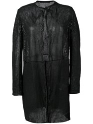 Salvatore Santoro Open Front Cardi Coat Women Leather 48 Black