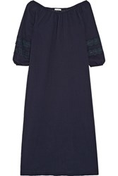 Skin Lace Trimmed Crinkled Cotton Gauze Nightdress Midnight Blue