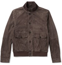 Tod's Suede Bomber Jacket Brown