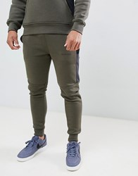 Nicce London Skinny Joggers In Khaki With Contrasting Panels Green