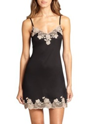 Josie Natori Charlize Lace Embroidered Chemise Natural Blush Black Dark Grey