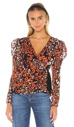 Astr The Label Lissa Top In Orange. Red Gold Leopard
