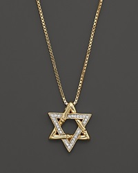John Hardy Bamboo Pave Star Of David Pendant On Chain Necklace In 18K Yellow Gold .13 Ct. T.W 16