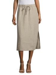 Eileen Fisher Organic Linen Midi Skirt Undyed Natural