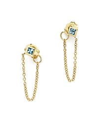 Zoe Chicco 14K Yellow Gold Draped Chain Stud Earrings With Aquamarine 100 Exclusive Blue Gold