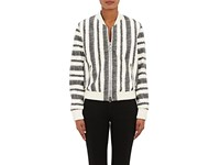 3.1 Phillip Lim Women's Leather Zigzag Striped Bomber Jacket Black