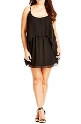 Plus Size Women's City Chic 'Lace Romance' Tunic Black