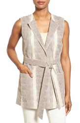 Women's Lafayette 148 New York 'Faye' Embossed Lambskin Leather Belted Vest