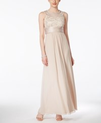 Jessica Howard Soutache Ruched Empire Gown Champagne