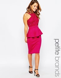 Lipstick Boutique Petite Peplum Dress With Lace Top Pink