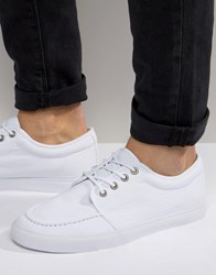 Asos Lace Up Plimsolls In White Canvas White