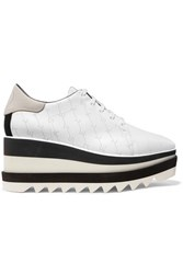 Stella Mccartney Elyse Logo Perforated Faux Leather And Suede Platform Brogues White