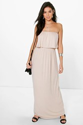 Boohoo Bandeau Frill Top Maxi Dress Stone