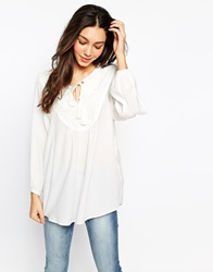 Esprit Long Sleeve Boho Top White