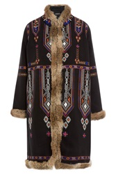 Antik Batik Hendrix Embroidered Coat With Rabbit Fur Gr. 36
