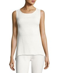 Neiman Marcus Sleeveless High Low Knit Top Off White