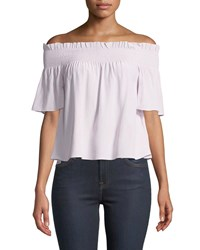7 For All Mankind Off Shoulder Smocked Silk Blouse Lilac