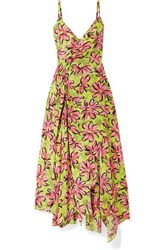 Michael Kors Collection Asymmetric Floral Print Silk Crepe De Chine Midi Dress Chartreuse